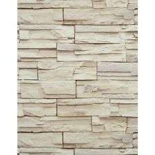 Stacked Stone Brick Wallpaper Tan Beige Heavy Duty Textured RN1039