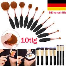 10tlg Schwarz Make up Oval Pinsel Kosmetik Zahnbürste Schminkpinsel Brush Set DE