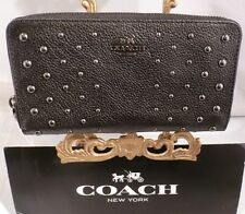 NWT COACH BLACK Pebble Leather Ombre Rivets Accordion Zip Around Wallet 56538