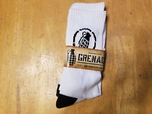 Grenade Standard Issue Socks - White Black- Spandex Nylon Cotton - Bike