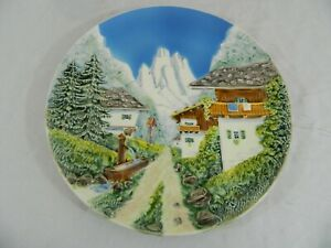 Vintage Scenic Snow Capped MTS Chalet Village Ceramic Plate Made in West Germany