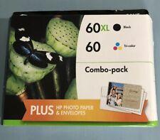 HP 60XL Black Ink Cartridge 60 Color Combo Ink Photo Paper Envelope OEM Exp 3/17