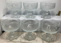 6 X Vintage Italian Bubble Base Stemmed Barocca Glass Sundae Dishes