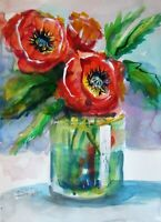 red Poppies still life vase 15x11 original watercolor painting art Delilah