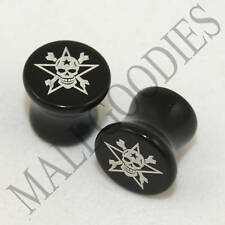 X040 Double Flare Acrylic Black Star Skull Bones 0G 0 Gauge Plugs 8mm Saddle 8mm