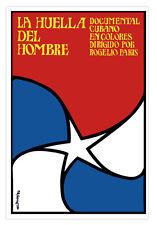 Cuban movie Poster for Cuba film HUELLA del Hombre.Footprint of Man.Art Design.