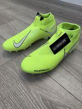 Nike Men's Phantom VSN Elite DF FG Soccer Cleats (Volt/White) - Size 9 And 9.5