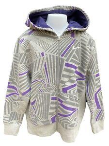 New NIKE Vintage Unisex Hoodie Jacket Grey and Purple 140-152 cm Age 10-12 Years
