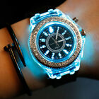 Women Geneva LED Backlight Crystal Quartz Wrist Watch Sport Waterproof Little