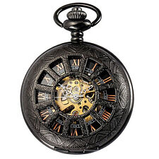 Roman Dial Windup Skeleton Mechanical Mens Pocket Chain Watch Steampunk Vintage