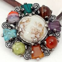 A Really Super unsigned MIRACLE Vintage Celtic Scottish Faux Gemstone Brooch Pin
