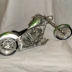 Orange county choppers Green And Silver Diecast Chopper By Toy Zone
