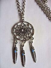 "A  Dream Catcher Feather Tassel Tibetan Silver Charm Long 30""  Chain Necklace"