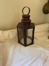 Vintage Hand Made Colonial Style Copper Wall Lantern Sconce Fixture Nice Patina