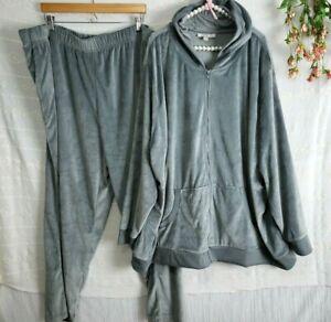 Womens Velour Track Suit Loungewear Plus Size 4X Gray Hoodie Sweatpants Stretch