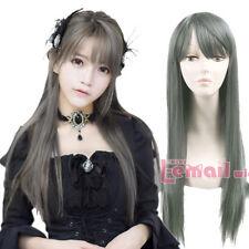20199 Lolita Harajuku Light Gray 70cm Straight Hair Cosplay Wigs