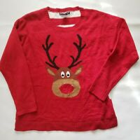 """United States Sweater Womens Xl Red Reindeer LIGHT UP """"Ugly"""" Christmas Adorable"""