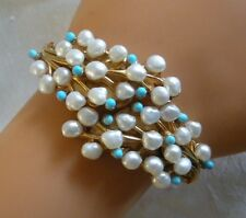 SWOBODA CUFF CLAMP BRACELET ~ GEMS ~ FRESH WATER PEARL, TURQUOISE ~ GORGEOUS!