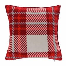 Argos Home Traditional Brushed Check Polyester Cushion Red 43 x 43cm