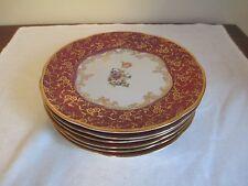 Lot of (6) RICHARD GINORI G. O Dessert Plates!  Red & Gold & Flowers!