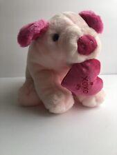 "Rare Vintage Caltoy Pig w/XOXO Heart Lovey 11"" Plush Stuffed Animal Doll EUC"