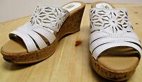 SPRING STEP white leather cork wedge heel sandals, size 37(US:6.5-7), NEW slides