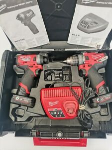 Milwaukee M12FPP2A-602X 12v Twin Pack 2 x 6.0Ah Batteries, Charger.