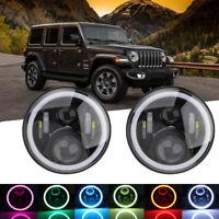 2x Rund Led Scheinwerfer 7 Zoll mit RGB Halo Winkel Augen für Jeep Wrangler JK