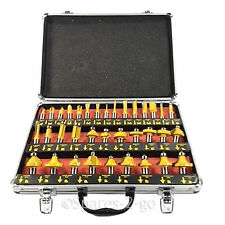 "35 Pc Tungsten Carbide Router Bit Wood Tool Bits Set 1/4"" Shank + Alloy Case"