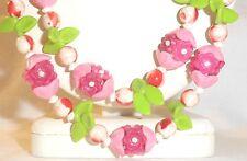 VTG Plastic Fruit Salad Flower Necklace Pastel Pink White Green Single Strand