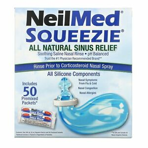NeilMed Squeezie, All Natural Sinus Relief, Nasal Rinse Kit, 50 Saline Sachets