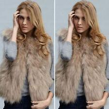 Women Ladies Faux Fur Waistcoat Vest Jacket Gilet Sleeveless Shaggy Warm Coat US