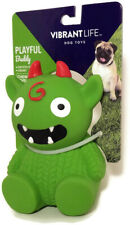 "HALLOWEEN Vibrant Life GREEN MONSTER 4"" Fetch Chew Squeaky Dog Toy BOY GIRL PUP"