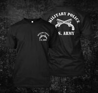 military police us army-  Custom Men's Black T-Shirt Tee