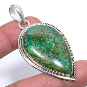 "Africa Azurite Malachite Gemstone 925 Sterling Silver Jewelry Pendant 2.4"" F2585"