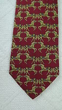 Brooks Brothers Silk Neck Tie Red Gold Blue Equestrian Horse Print