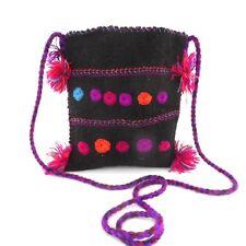 Vtg WOOL Black Fringe Polka Dot Pink Blue Purple Small Pouch Purse Cross Body