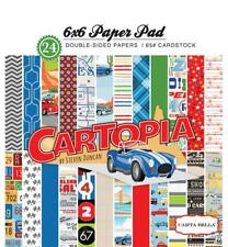 CARTOPIA 6x6 Paper Pad Carta Bella 24pc Cars Road Trip Map Retro Echo Park fs