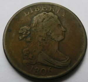 1806 Draped Bust Half Cent - VF Details, Early Date 1/2C