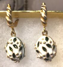 White Faberge Egg Earrings Hinged Back Enameled Russian Museum Mint!