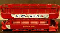 """Vintage LESNEY Double Decker Bus Trolley No. 3 News of the World Red 3"""""""