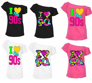 Ladies I love the 90s Pop disco party festival retro off the shoulder top t shir