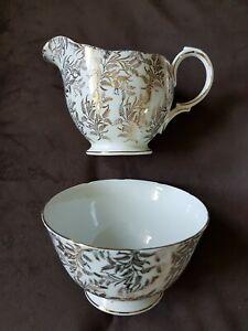 Vintage Crown Royal Bone China Sugar Bowl & Milk Jug