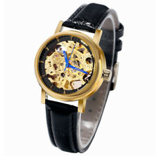 WINNER Skeleton Women Automatic Mechanical Wrist Watch Leather Band Bracelet