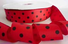 1 metre, RED WITH BLACK DOT, 38mm, Ribbon, 1.5inch, Grosgrain,Hair, Sewing, Cake