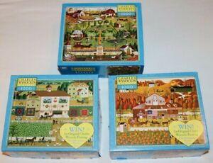 Milton Bradley Lot of 3 Charles Wysocki 1000pc Jigsaw Puzzles Folk Art Complete