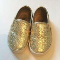 Kid's Girl's Michael Kors Ivy Alita-T Gold Shoes 5T Logo Sneakers Baby Slides