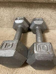 Set Of 10 Lb Hex Dumbbells (20 Lbs Total)