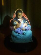 """""""BLACK MADONNA WITH CHILD"""" Collectible Doll - Custom-made on a wooden base."""