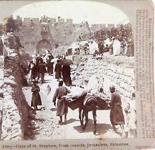 .PALESTINE 1899 St STEPHEN GATE, JERUSALEM. 11003 THE FINE ART STEREOVIEW CARD.